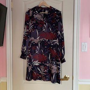 Dark Purple dress w/ floral designs, Ann Taylor